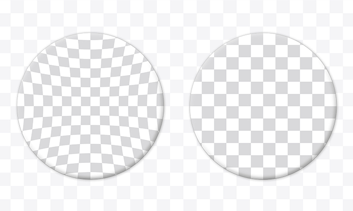 Diagram of two circles filled with grey and white squares showing the image difference between spherical and aspherical lenses