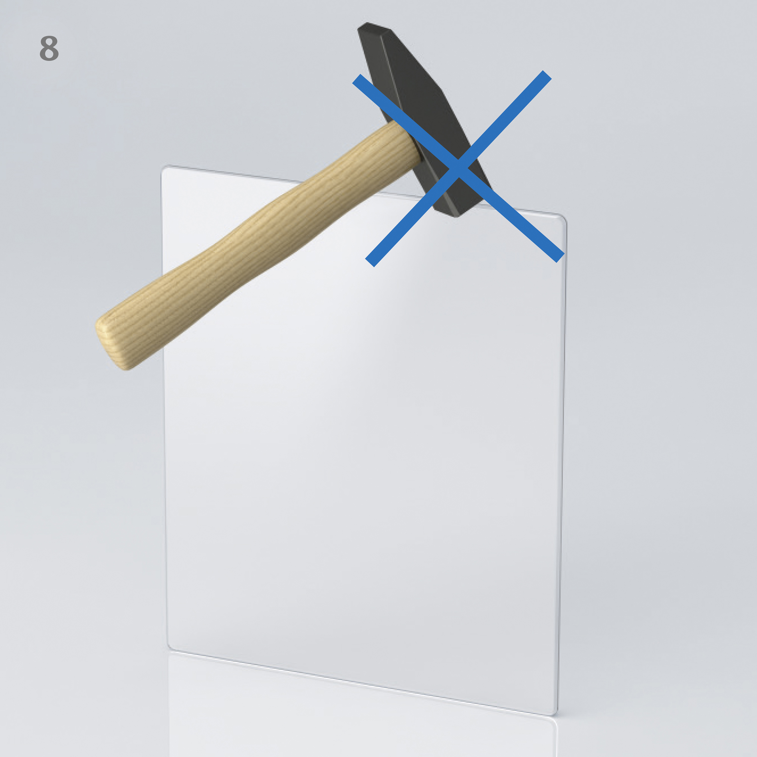 Illustration of a hammer hitting the side of a glass panel