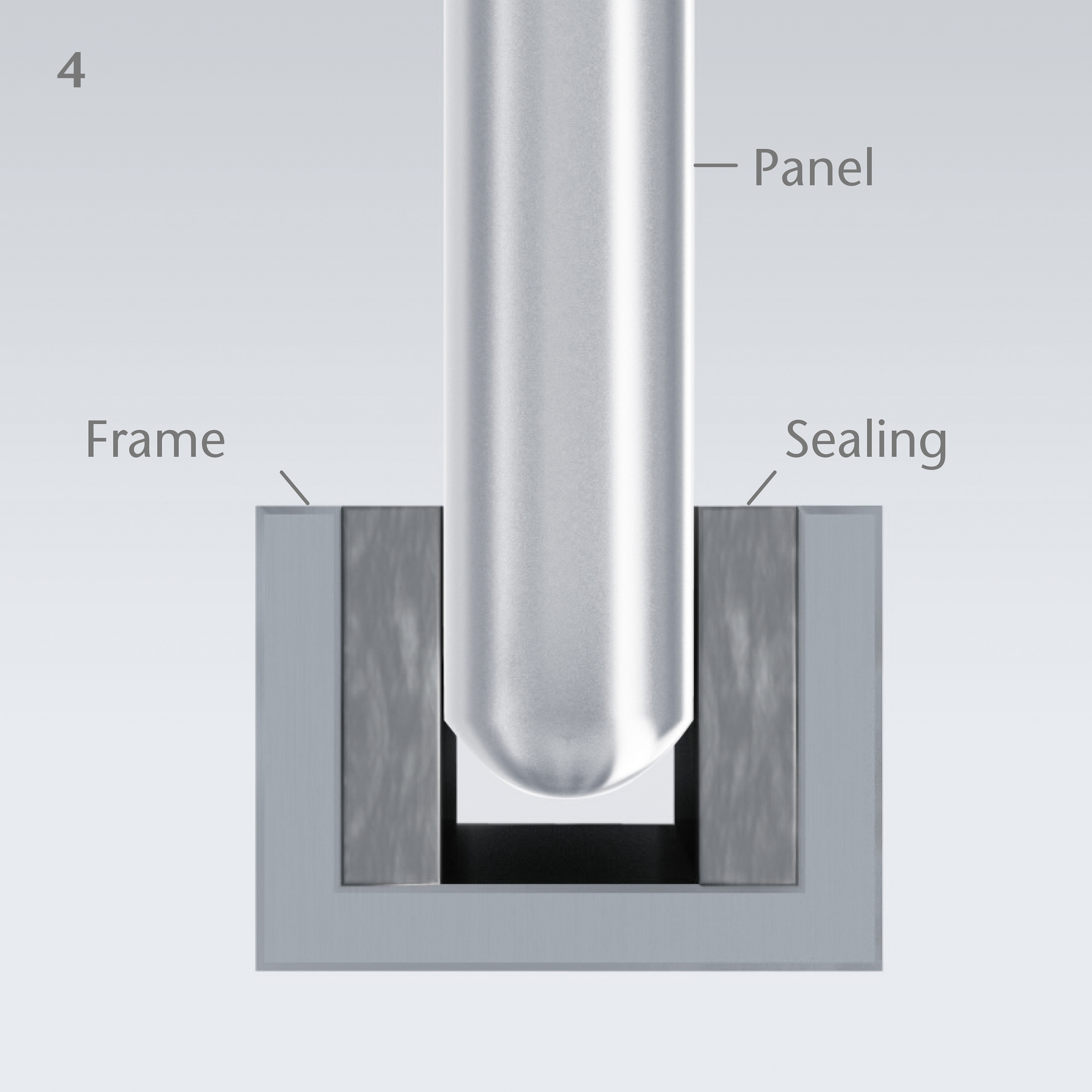 Diagram of how a panel of SCHOTT ROBAX® glass-ceramic fits inside a frame