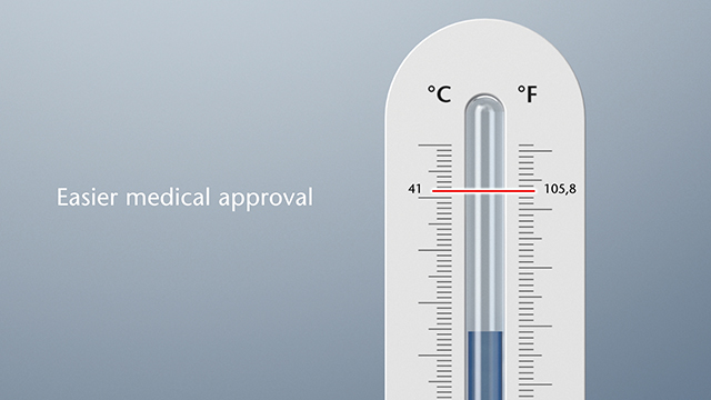Thermometer showing the equipment temperature threshold for patient safety