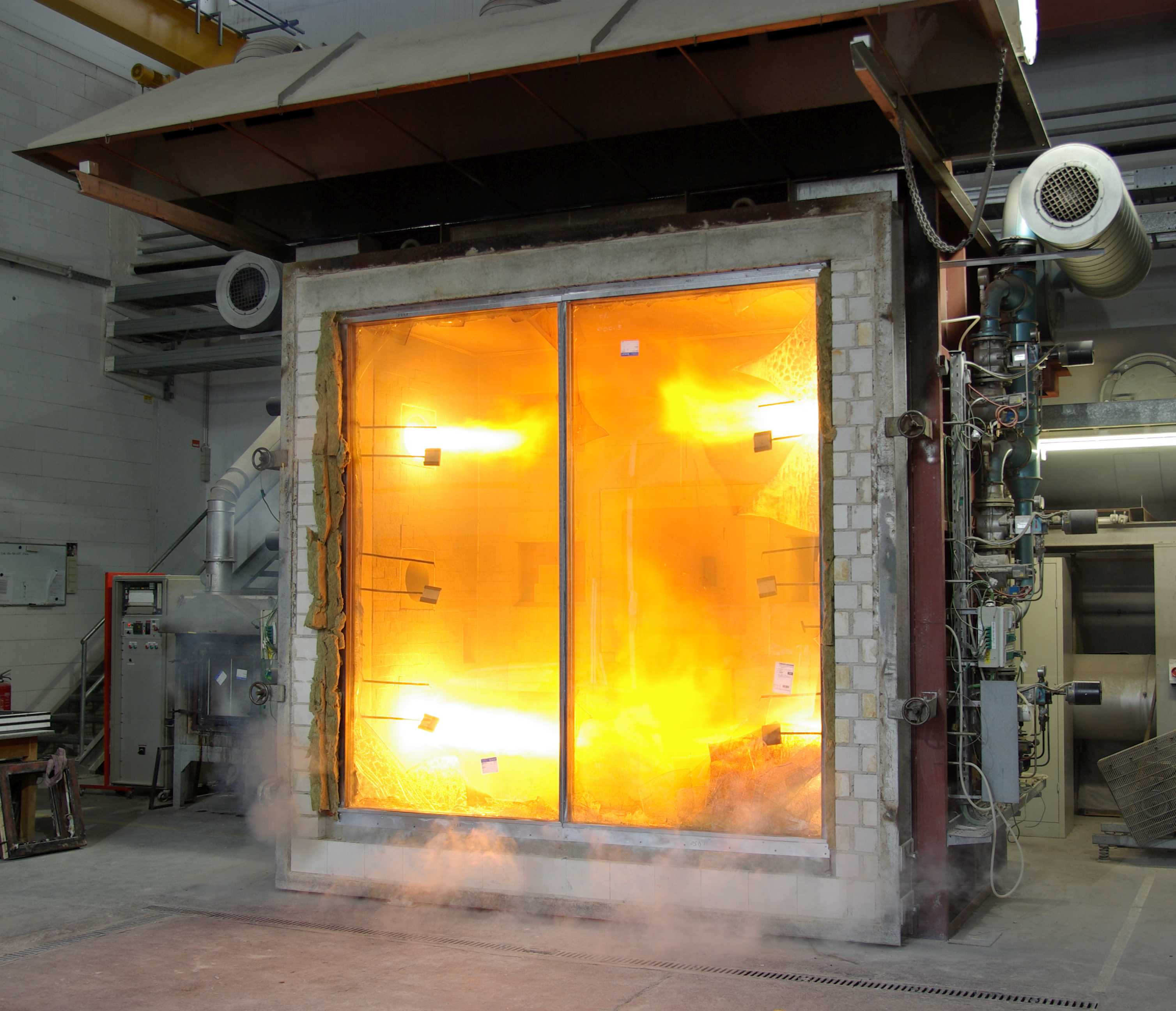 Hot furnace used for conducting fire tests on fire-rated glazing